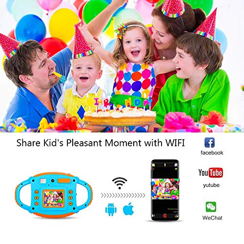 ifmeyasi WiFi Kids Camera, 1080P 8MP Digital Video Cameras for 3-8 Year Old Girls Boys Gift, Shockproof Mini Child Camcorder with 1.77 LCD Display, Mic, Flash Light(16GB Memory Card Included) by ifmeyasi (Image #1)