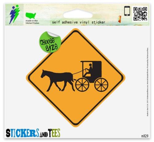 Amish Vinyl - Warning Carriage Crossing Amish Vinyl Car Bumper Window Sticker 4