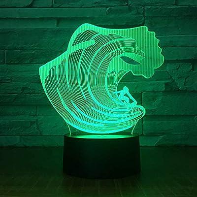 Luces nocturnas 3D wangZJ/Lucha/Marca del dragón/Barco/Anillo de ...