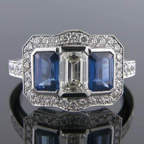 Diamondtresure Antique Art Deco Sapphire and Pave Set Moissanite 14k White Gold Engagement Ring 18kt White Gold Antique Ring