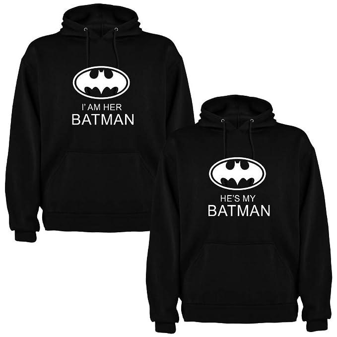 DALIM Pack de 2 Sudaderas Negras para Parejas, Iam Her Batman y Hes