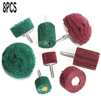 8PCS Non Woven Abrasive Buffing Polishing Wheel Drill Attachment Set,Scouring Pads Power Scrubber Cleaning Kit