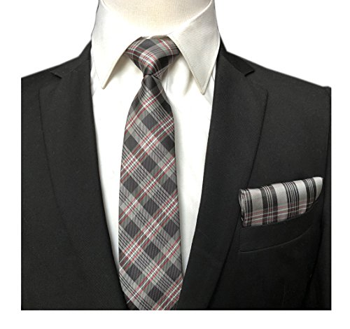 (Men's Black Red WHiteTies Silk Luxury Unique Designer Cool Self Dress Neckties)