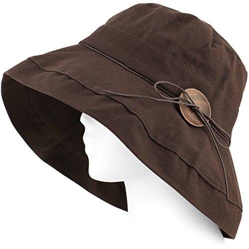 Packable Summer Beach Sun Hat - Soft Wide Brim, Wood Button, w Strap - Choco Brown