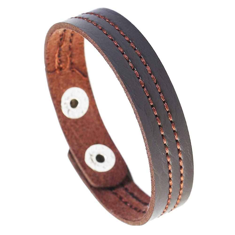 Angel3292 Simple Embroidery Line Faux Leather Unisex Couple Bracelet Bangle Jewelry Gift