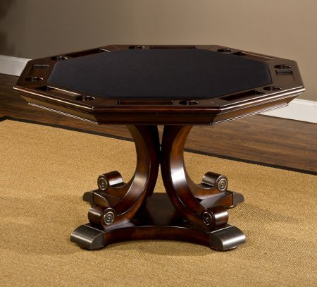 Hillsdale Furniture 6234GTB Harding 54'' Round Game Table with Reversible Top Brown Leather Top Cup Holders Adler and Birch Wood Construction in Rich Cherry by Hillsdale Furniture