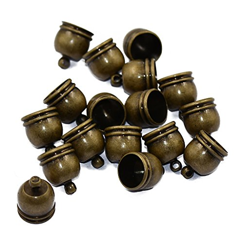 MonkeyJack Pack of 10 Brass Bell End Tip Bead Caps Jewelry Making Findings Antique Bronze