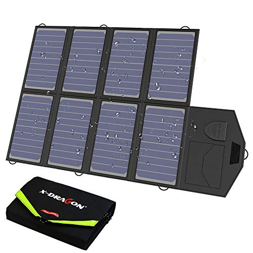 X-DRAGON Solar Charger, 40W Solar Panel Charger (5V USB with SolarIQ + 18V DC) Water Resistant Laptop Charger Compatible Cellphone, Notebook, Tablet, Apple, iPhone, Samsung, Android, Camping, Outdoor (Laptop Charger Solar)