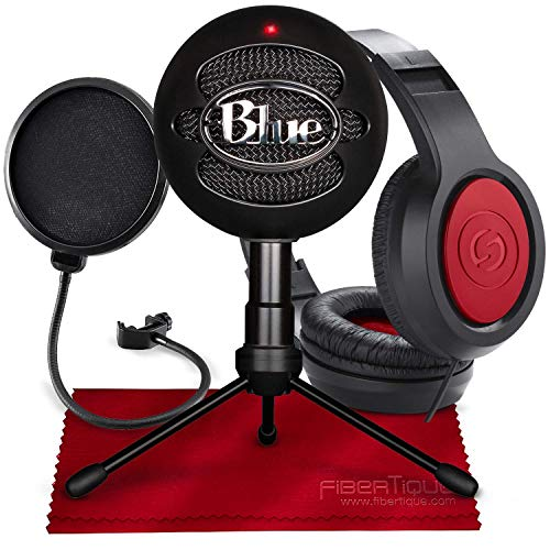 Blue Snowball iCE USB Cardioid Condenser Microphone (Black) with Studio Headphones & Pop Filter Deluxe Accessory - Snowball Mic Usb