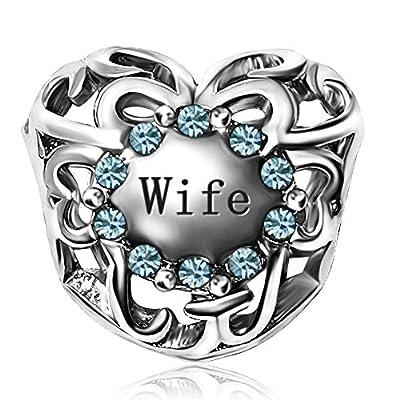 JMQJewelry Love Heart Wife Charms Birthstone 12Colors Bead For Bracelets