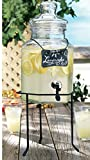 lemonade dispenser glass - Palais Glassware Clear Glass Octagon Beverage Dispenser - 1.5 Gallon, with Glass Lid and Metal Stand (w/ Chalkboard)