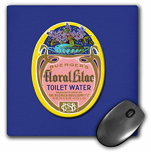 Bottle Perfume Vase (3dRose BLN Vintage Perfume and Toiletry Labels and Posters - Buergers Floral Lilac Toilet Water Perfume Bottle Label in Pink, Yellow with a Vase of Flowers - MousePad (mp_153652_1))