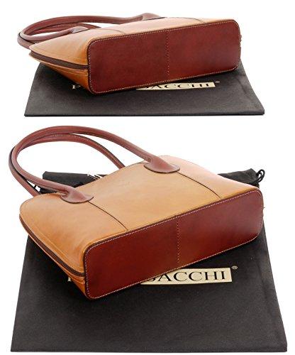Smooth Handbag Shoulder Bag Classic Leather Branded Style Handled Italian a Includes Hand Protective Mid Storage Grab Sacchi® Tan amp; Tote Bag Made Bag Brown Long or Primo ZqEBvn