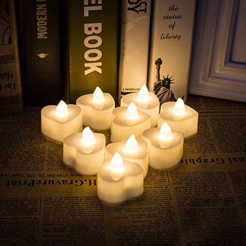 LED Heart-Shaped Flameless Votive TeaLights Battery Powered Candle For Wedding,Valentine's Day,Party,Home,bedroom Decoration 24pcs -  HENGZHAN, LO-H-01*2