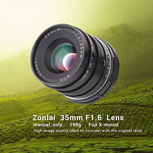 Zonlai 35mm f1.6 Fujifilm X-mount Manual Lens for Fuji Mirrorless X-A1 X-A2 X-A3