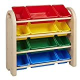 ECR4Kids 4-Tier Toy Storage Organizer for Kids, Sand with 12 Assorted Color Bins