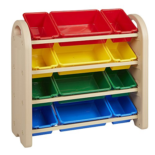 ECR4Kids 4-Tier Toy Storage Organizer for Kids, Sand with 12 Assorted Color Bins by ECR4Kids