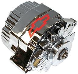 ProForm 141-657 GM Chrome w/ Red Bowtie 100 Amp 1-Wire Alternator with Internal Regulator
