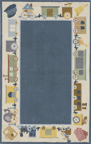Momeni Rugs LMOINLMI-3BLU4060 Lil' Mo Classic Collection, Kids Themed 100% Cotton Hand Hooked Area Rug, 4' x 6', Blue - Damask Loop Hooked Rug