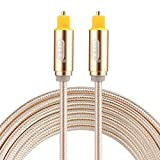 Optical Cables, EMK 2m OD4.0mm Gold Plated Metal Head Woven Line Toslink Male to Male Digital Optical Audio Cable (Color : Gold)