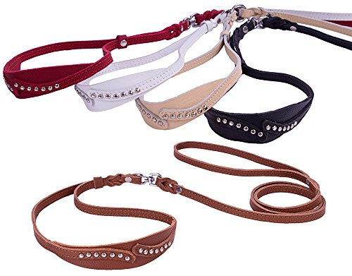 CollarDirect Genuine Leather Slip Show Lead, Soft Leather Slip Show Leash, Handmade Puppy Leash for Dog White Black Brown Red Beige (Red)