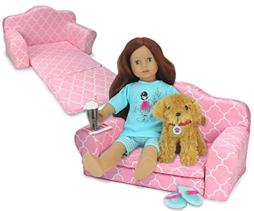 Photo 2-in-1 Pink Doll Furniture Pull Out Sofa Bed by Sophia`s | Plush Couch for Dolls Converts to Double Bed Perfect for Your American Doll and More!