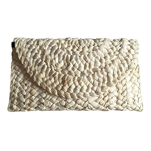 Women Straw Clutch Handbag Envelope Bag Hasp Beach Bag Woven Bag Purse Wallet