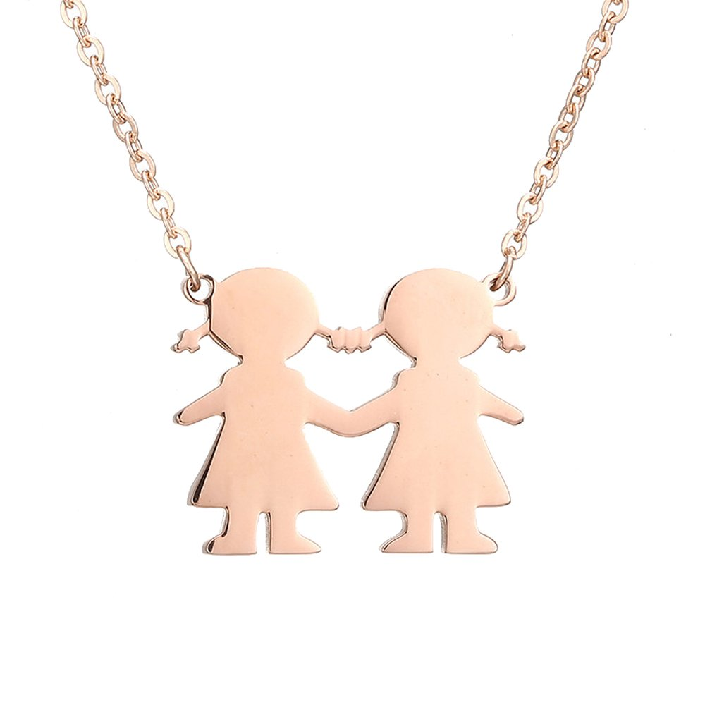 "AOCHEE Son Daughter Two Kids Twins Family Pendant Friends Necklace 18"" (Rose gold2)"