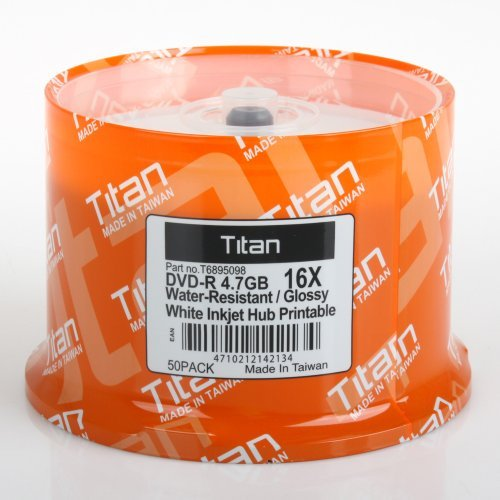 Titan Dvd-r 16x Semi-gloss (Glossy) Water Resistant, White Inkjet Printable Blank Media Discs 4.7gb (T6895098) in 50 Cake Box