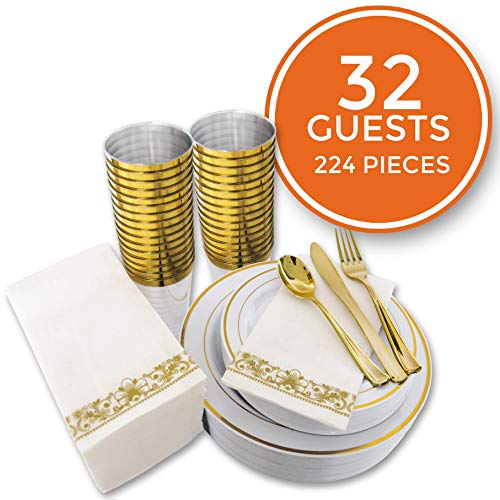 224 pcs Gold Party Dinnerware Set for 32 Guests|Disposable Gold Plastic Plates with Gold Rimmed Cups Silverware and Napkins|Ideal for Parties, Weddings, Thanksgivings|Heavyduty Hard for 30+ Guests ()