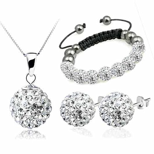 Premium Quality SILVER Crystal Shamballa 10mm NECKLACE PENDANT MATCHING EARRINGS & BRACELET with 45cm 18 inch LINK Chain FREE ORGANZA BAG
