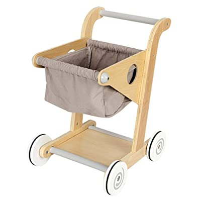 TODAYTOP Kid's Wooden Shopping Cart Wood Supermarket Trolley Toy Pretend Play Toy for Toddlers Ages 3 & Up: Home & Kitchen