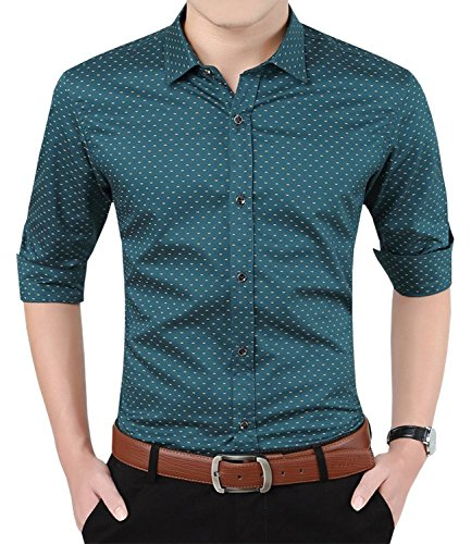 Aiyino Men's 100% Cotton Long Sleeve Plaid Slim Fit Button Down Dress Shirt