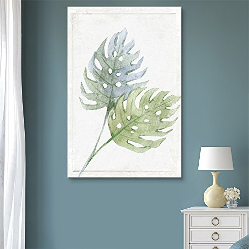 - wall26 - Canvas Wall Art - Hand Drawn Green Large Tree Leaf Series Artwork - Giclee Print Gallery Wrap Modern Home Decor Ready to Hang - 16x24 inches