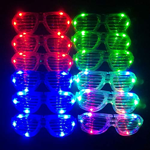 M.best Unisex Flashing Plastic Glow LED Light Up Shades Show Toy Glasses Party Favors Supplies Set of 12 -