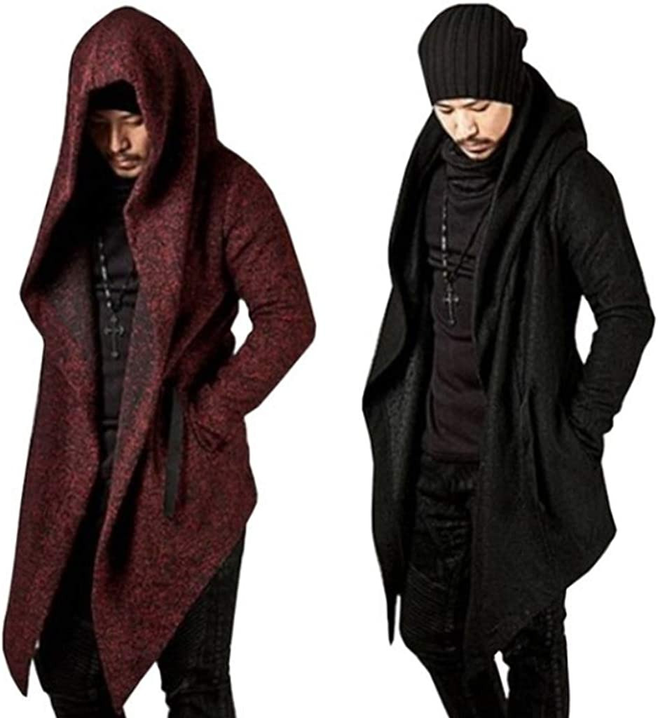 Mens Long Sleeve Irregular Hem Cardigan Coat Trench Cardigan Hooded Cloak Cape Long Sleeve Knitted Coat