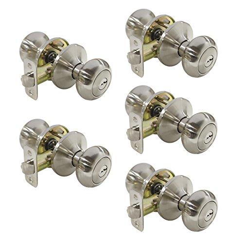 (Security Entry Lockset Biscuit Style Entrance Door Knob in Satin Nickel,Keyed Alike, 5 Pack)
