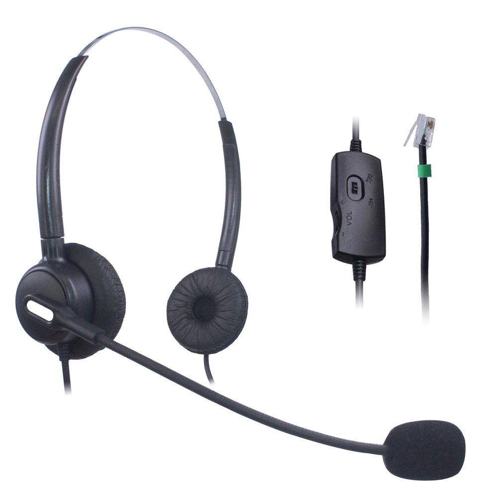 Vanstalk Telephone Headset Dual Ear, Volume Control & Mute-Switch, Noise Cancelling Microphone for Aastra M7310 AVAYA 9406 Mitel 5000 Northern Telecom 1120E Siemens/ROLM(VT20BJ1)
