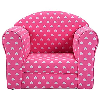 Amazon.com: Pink With White Hearts Kids Sofa Gift Set Armchair ...