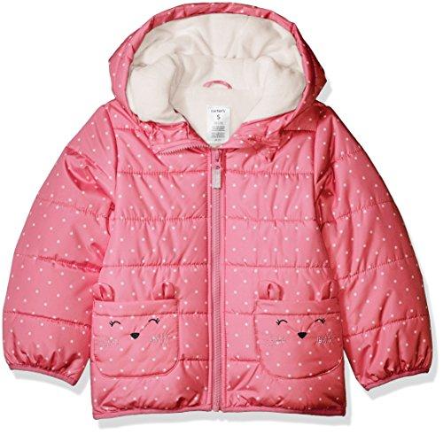Carter's Girls' Little' Fleece Lined Critter Puffer Jacket Coat, Kitty Pink, 6X