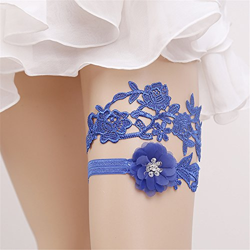 FantasyDay Navy Blue Elastic Wedding Bridal Lace Garter Set Flower Leaf Style Sequins Lace Wedding Garter for Bridal with Rhinestone Keepsake Toss Tradition Vintage #6