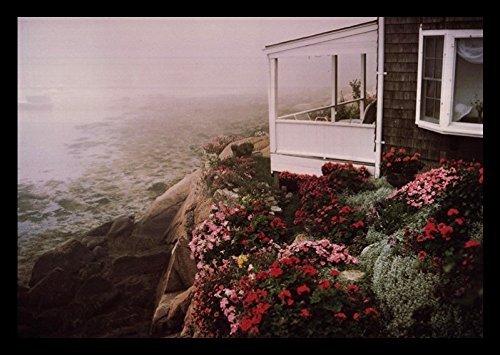 Buyartforless Framed Rockport Garden by Andrew Borsari 18x12 Art Print Poster Photograph Beautiful Coastal Beach House with Floral Garden Rocky Cliff Foggy Ocean View