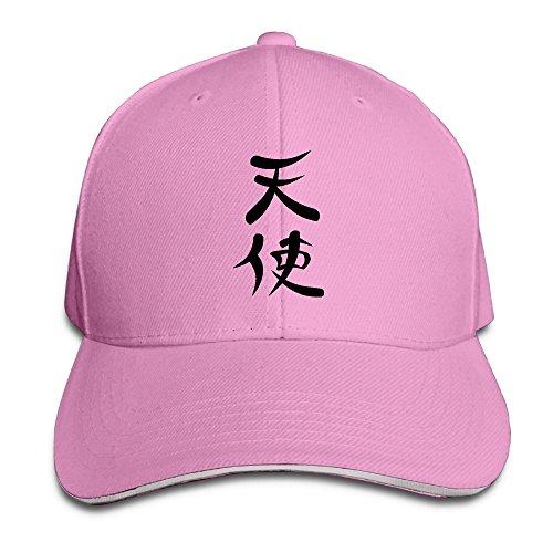 Fonsisi Creative Angel Chinese Symbol Logo Casual Design Unisex Cotton Sandwich Peaked Cap Adjustable Baseball Caps Hats Pink Angel Hat