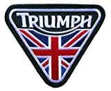 union jack patch - Triumph Motorcycle Union Jack Patent Plate -Embroidered Iron-On Biker Patch