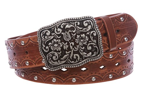 Women's Studded Western Floral Perforated Embossed Leather Belt Size: M/L - 36 Color: Tan