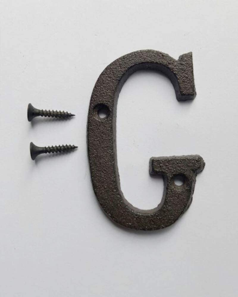 3 Inch Innovative Wrought Iron House Number Black Letter -G