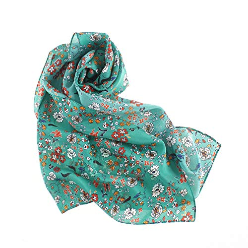 YS·AU 100 Silk Woman Scarf,Lightweight Crepe DE Chine Kerchief-Small Floral Fashion Versatile Neckerchief Green