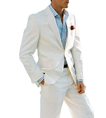 501cce0c8ab Ivory Summer Beach Wedding Suits 2 Pieces Men Suits Groom Tuxedos 2 Buttons  at Amazon Men s Clothing store