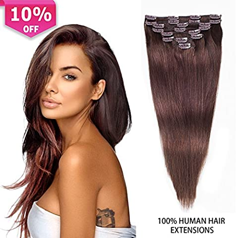 Clip In Real Human Hair Extensions Dark Brown Thick Remy Hair Extensions Double Weft Natural Hair Clip on Extensions For Women 8pcs 100g (16 inch, #2(Dark (Dark Layers Volume 2 Volume 1)