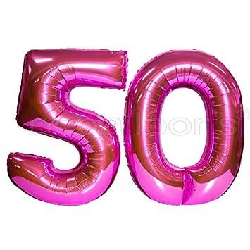 Ocballoons Palloncini 50 Anni Compleanno Numero Fucsia Mylar